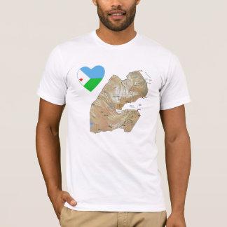 Coeur de drapeau de Djibouti et T-shirt de carte