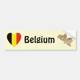 Coeur de drapeau de la Belgique + Adhésif pour Autocollant De Voiture