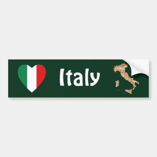 Coeur de drapeau de l'Italie + Adhésif pour pare-c Autocollants Pour Voiture