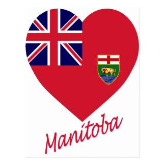 Coeur de drapeau de Manitoba avec le nom Carte Postale