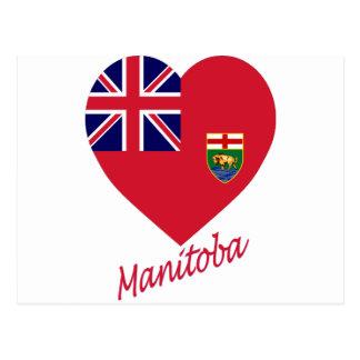 Coeur de drapeau de Manitoba avec le nom Cartes Postales