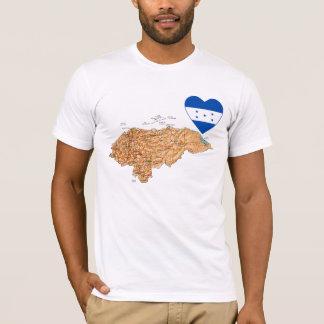 Coeur de drapeau du Honduras et T-shirt de carte