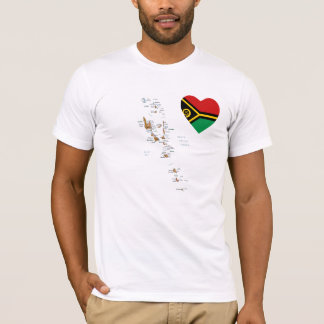 Coeur de drapeau du Vanuatu et T-shirt de carte