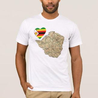 Coeur de drapeau du Zimbabwe et T-shirt de carte
