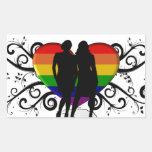Coeur de gay pride pour des femmes sticker rectangulaire