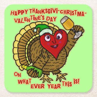 Coeur de la Turquie bu par vacances drôles Dessous-de-verre Carré En Papier