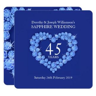 Coeur de mariage de saphir 45 ans d'invitation de carton d'invitation  13,33 cm