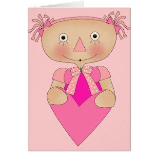 Coeur de Ragdoll des filles de l'enfant Carte De Vœux