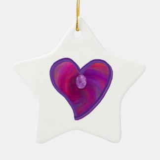 Coeur de remous d'améthyste, cadeaux ornement étoile en céramique