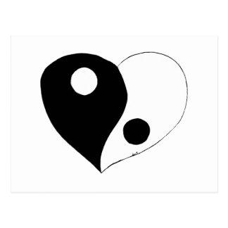 Coeur de Yin Yang (B/W) Carte Postale