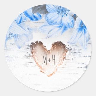 Coeur d'écorce de bouleau et mariage rustique de sticker rond
