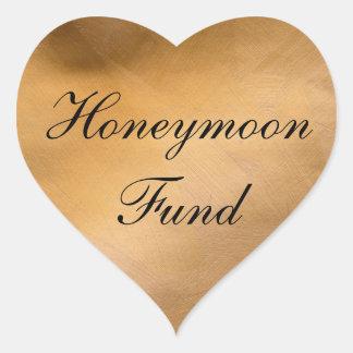 Coeur d'en cuivre de fonds de lune de miel sticker cœur
