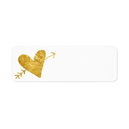 coeur d'or avec la flèche étiquette d'adresse retour