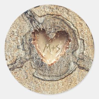 Coeur en bois découpé par mariage rustique sticker rond