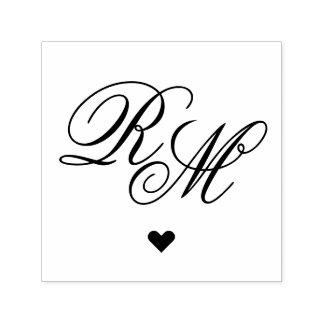 Coeur fleuri de monogramme tampon auto-encreur