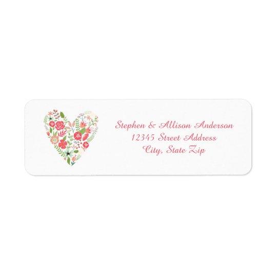 Coeur floral - étiquettes de adresse