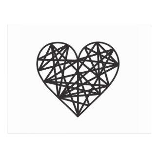 Coeur géométrique carte postale