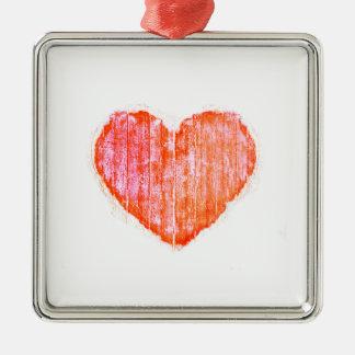 Coeur graphique grunge de style d'art de bruit ornement carré argenté
