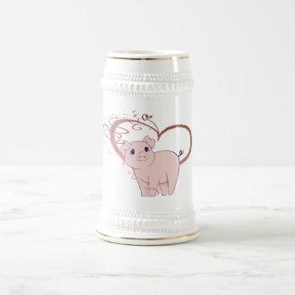 Coeur mignon de porc et de remous chope à bière