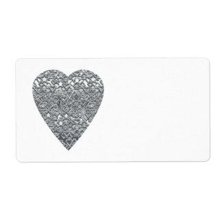 Coeur. Modèle gris gris-clair et mi imprimé Étiquette D'expédition