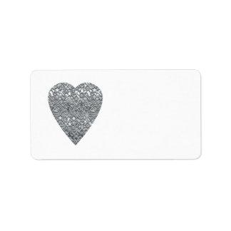 Coeur. Modèle gris gris-clair et mi imprimé Étiquettes D'adresse