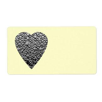 Coeur. Modèle gris imprimé Étiquette D'expédition