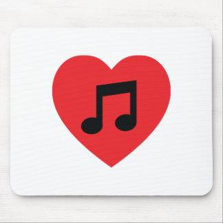 Coeur Mousepad de note de musique Tapis De Souris