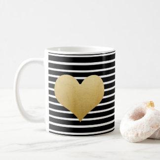 Coeur noir et blanc de feuille d'or de Faux des Mug Blanc