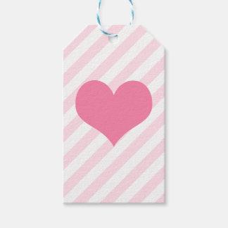 Coeur rose-clair étiquettes-cadeau