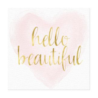 Coeur rose d'aquarelle d'or bonjour beau toile