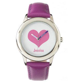 Coeur rose - montre personnalisée de nom du ` s montres cadran