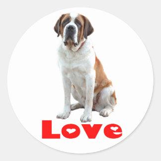 Coeur rouge d'amour de chiot de St Bernard Sticker Rond