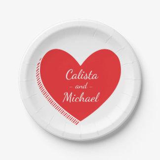 Coeur rouge et blanc personnalisé - mariage, assiettes en papier