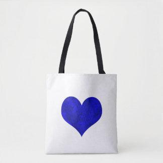 Coeur royal de marbre de bleu de cobalt tote bag