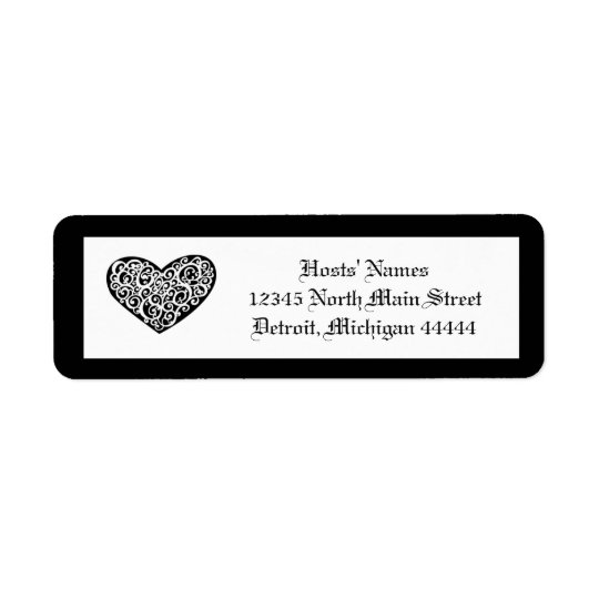 Coeur tourbillonnant noir de w/White - étiquette