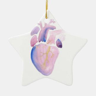 Coeur très violet ornement étoile en céramique