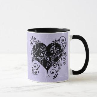 """Coeur tribal pourpre et noir, """"vous avez mon coeur mug"""