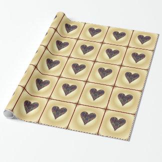 Coeurs d'amour dans le tissu de tapisserie papier cadeau