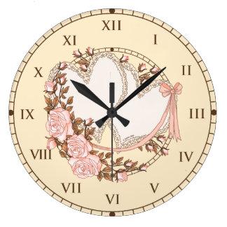 Coeurs de mariage grande horloge ronde