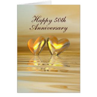 Coeurs d'or d'anniversaire (grands) carte de vœux