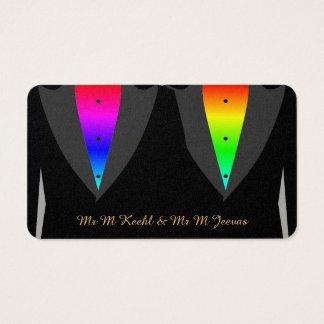Coeurs embrasés avec des mariés d'homosexuel de carte de visite standard