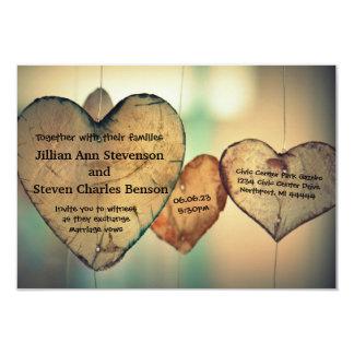 Coeurs en bois rustiques - faire-part de mariage