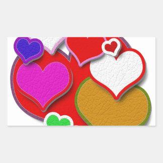 Coeurs en cuir piqués sticker rectangulaire