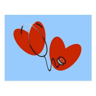 Coeurs et T-shirts et cadeaux de stéthoscope Carte Postale