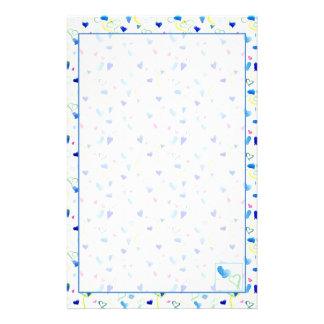 Coeurs jaunes roses bleus d'aquarelle papier à lettre customisable