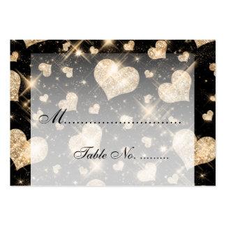 Coeurs les épousant élégants de scintillement d'or carte de visite grand format