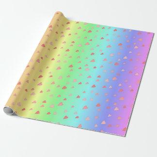 Coeurs minuscules sur le papier en pastel papier cadeau