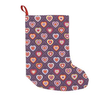 Coeurs multicolores petite chaussette de noël