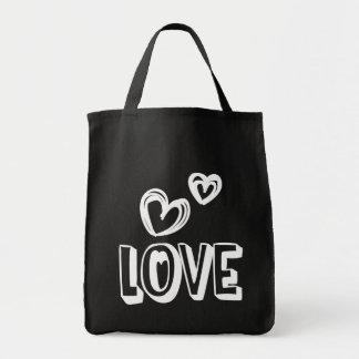 Coeurs noirs et blancs d'amour - mariage, douche sac en toile épicerie