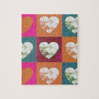 Coeurs peints colorés de valentine puzzle